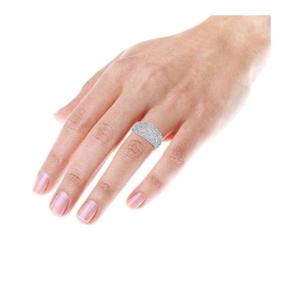 Pave Ring Diamond Band 14K White Gold by LUXURMAN
