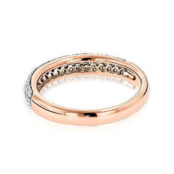 Thin 14K Rose Gold Round Cut Pave Diamond Wedding