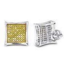 Yellow Diamond Stud Earrings 14K White Gold (0.5 C