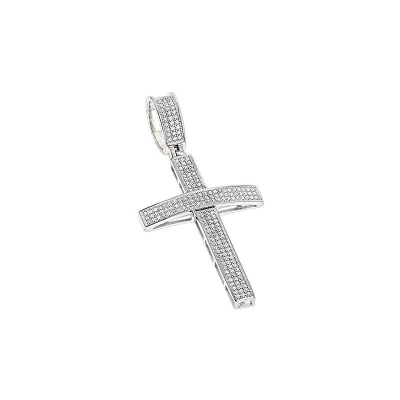 10K White Gold Round Pave Diamond Cross Pendant by
