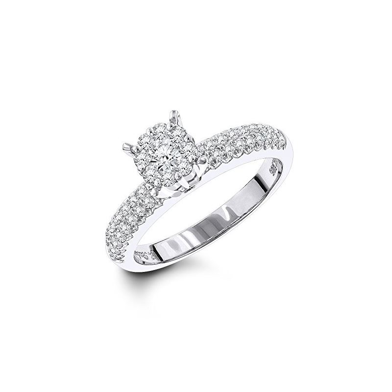14K White Gold Ladies Diamond Cluster Ring by LUXU