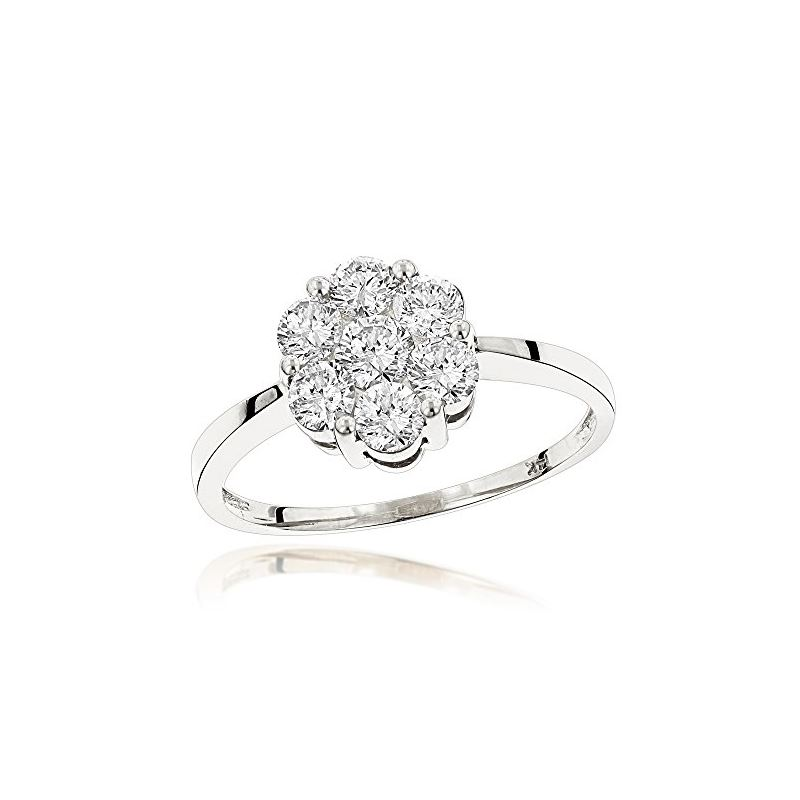 14K White Gold 7 Stone Ladies Diamond Cluster Ring