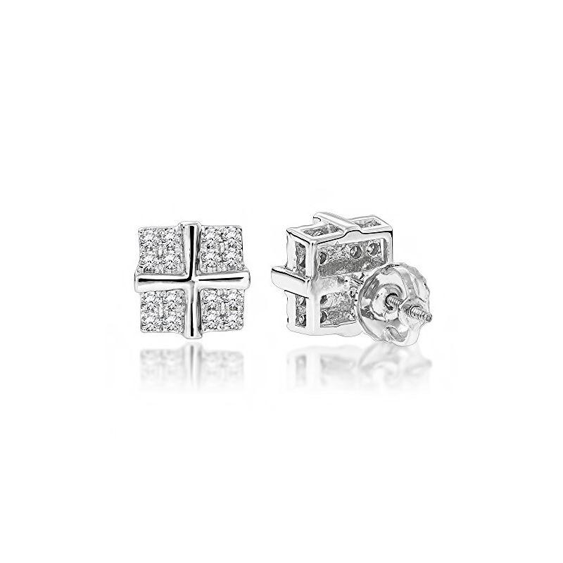 Round Diamond Stud Earrings 14K White Gold (0.3 Ct