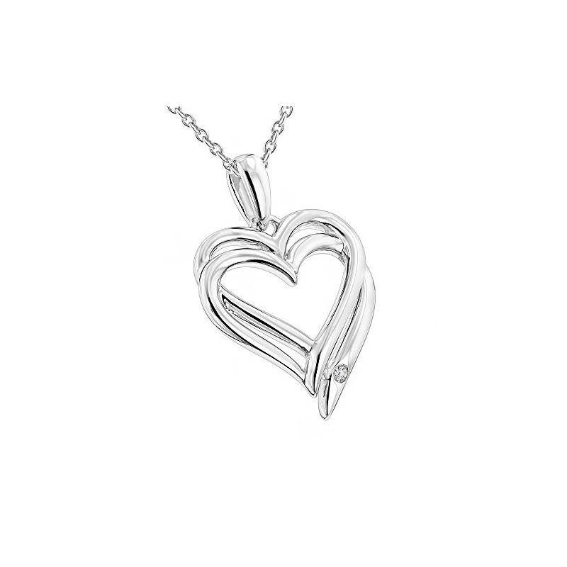 Luxurman Love Quotes Necklace Sterling Silver Doub