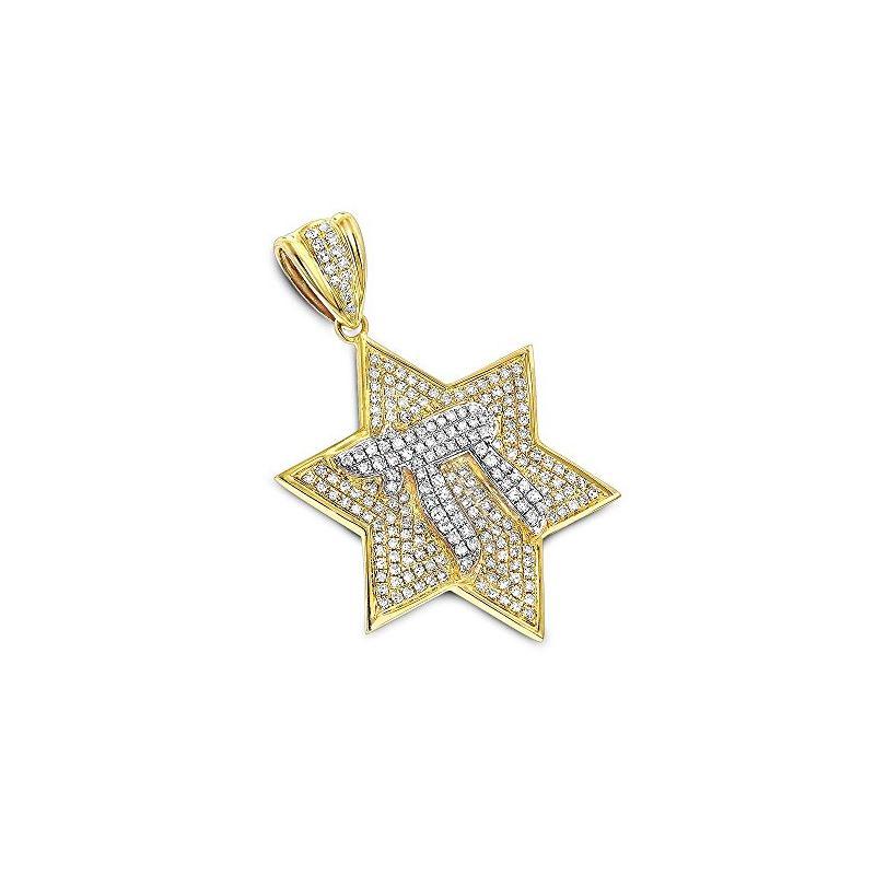 Diamond Star of David Pendant Chai 14K Gold by LUX
