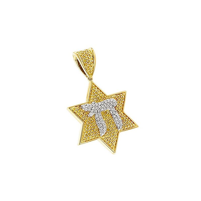Chai Yellow Diamond Star of David Pendant 14k Gold