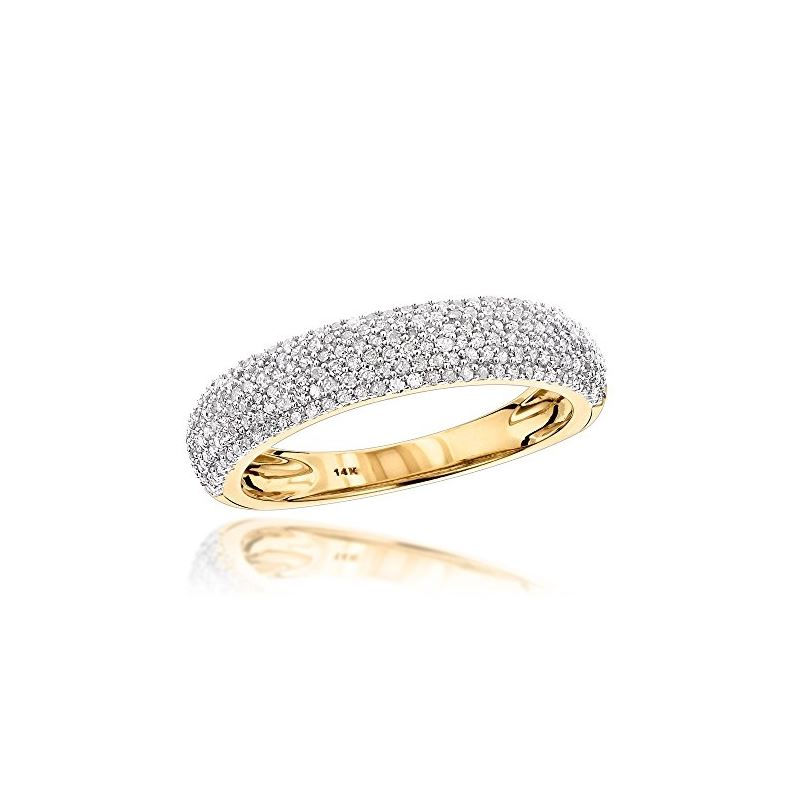 Thin 14K Yellow Gold Micro Pave Diamond Wedding Ba