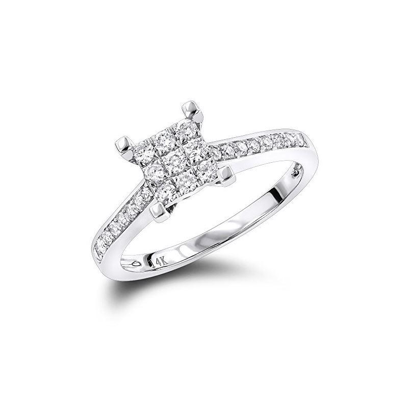 Round Diamond Engagement Ring 14K White Gold by LU