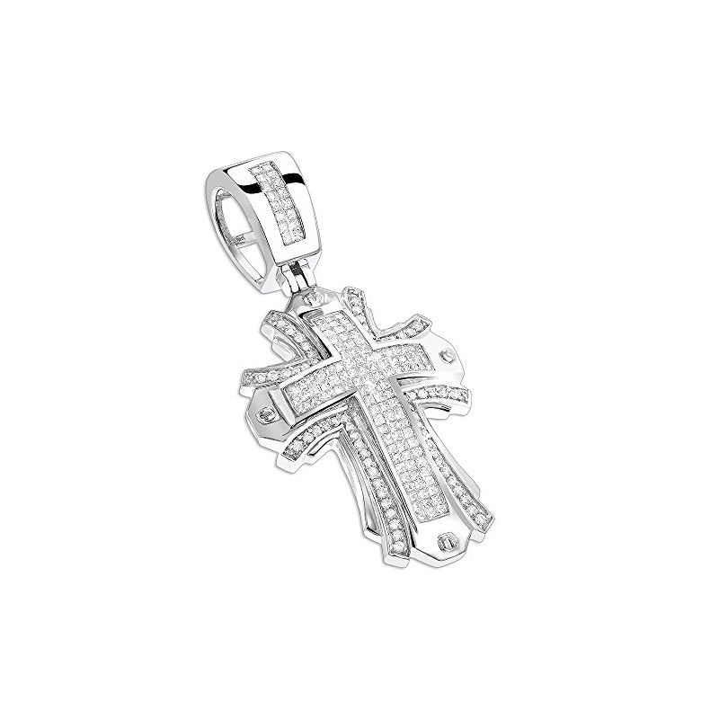 Designer Diamond Cross Pendant 14K White Gold by L