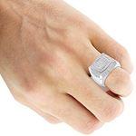Mens Pinky Ring 10K Gold Diamond Ring 1.8Ctw (Wh-4