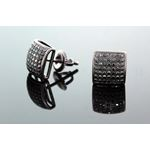 .925 Sterling Silver Black Square Black Onyx Crystal Micro Pave Unisex Mens Stud Earrings 9mm 2