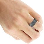 Designer Ring 10K Rhodium Plated Gold Black 1.6-4