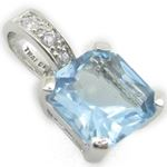 Ladies .925 Italian Sterling Silver tear drop pendant with blue stone Length - 20mm Width - 10mm 2