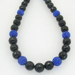 Mens beaded rosary chain crystal gemstone bracelet ball pave macrame necklace rosary black and blue