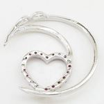 Half moon heart pink stone pendant SB66 37mm tall and 34mm wide 4