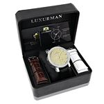 New White And Yellow Gold Luxurman Mens Diamond Watch 0.18ct Black Leather Band 4