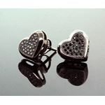 .925 Sterling Silver Black Heart Black Onyx Crystal Micro Pave Unisex Mens Stud Earrings 9mm 2