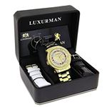 Unique Large Mens Real Diamond Watch 18k Yellow Gold Plated 0.12ct by Luxurman 4