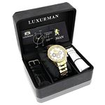 Luxurman Diamond Watches for Men 0.2ct Yellow Gold Plated Band White MOP Liberty 4
