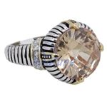 """Ladies .925 Italian Sterling Silver Spring citrine synthetic gemstone ring SAR12 6"