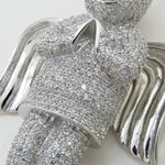 Praying angel white silver cz pendant SB60 79mm tall and 40mm wide 2