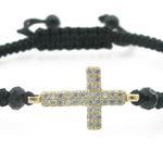 Ladies .925 Italian Sterling Silver String Bracelet with Dual Yellow Cross Length - 2.36in Width - 1