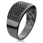 Designer Ring 10K Rhodium Plated Gold Black 1.6-2
