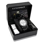 Genuine Mens Black Diamond Watch by Luxurman 2.25ct White Mother Of Pearl 4
