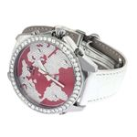Jacob Co. White Band 5 Time Zone Red World Map 5-2