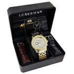 Luxurman Mens Diamond Watch 0.5ct Yellow Gold Plated in White Sparkling Stones. 4