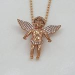 """Silver Rose Wings Angel Pendant with 24"""" Moon Cut Chain 2"""
