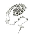 Mens Stainless Steel Silver Tone Rosary Chain Necklace with Cross 8MM 2