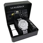 Oversized Escalade Iced Out Mens Diamond Watch by Luxurman White Gold Plated 2ct 4