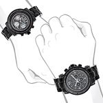 Oversized Matching His And Hers Watches: Black D-4