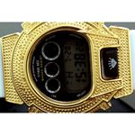 Ice Plus Mens Diamond Shock Style Watch Yellow Case White Band 2