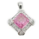 Ladies .925 Italian Sterling Silver fancy pendant with pink stone Length - 23mm Width - 17mm 2