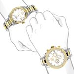 MATCHING WATCHES FOR COUPLES LUXURMAN YELLOW GOLD PLATED DIAMOND WATCH SET 4
