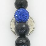 Mens Beaded Rosary Chain Crystal Gemstone Bracelet Ball Pave Macrame Necklace Black and Blue Rosary