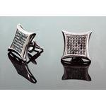 .925 Sterling Silver Black Kite Black Onyx Crystal Micro Pave Unisex Mens Stud Earrings 12mm 2