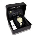 Womens White Yellow Gold Plated Diamond Watch Two Tone Luxurman Tribeca 1.5ct 4