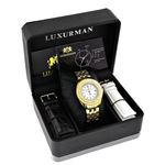 Womens Genuine Diamond Watch 0.25ct Yellow Gold Luxurman MOP Leather Strap 4
