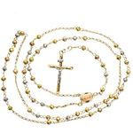 14K 3 TONE Gold HOLLOW ROSARY Chain - 28 Inches Long 4.04MM Wide 2