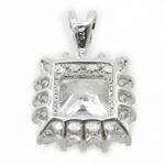 Ladies .925 Italian Sterling Silver fancy pendant with white stone Length - 20mm Width - 13mm 4