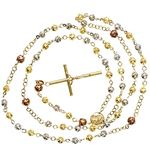 14K 3 TONE Gold HOLLOW ROSARY Chain - 28 Inches Long 5.2MM Wide 2
