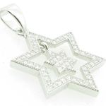 Ladies .925 Italian Sterling Silver star within star of david pendant Length - 26mm Width - 16.5mm 2