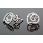 .925 Sterling Silver White Heart White Crystal Micro Pave Unisex Mens Stud Earrings 2