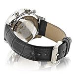 Luxurman Watches Black Diamond Watch 3ct Silver Case and a Black Leather Band 2