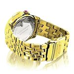 Yellow Gold Plated Ladies Real Diamond Pink Watch 0.25ct Luxurman Steel Band 2