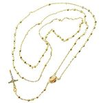 10K YELLOW Gold HOLLOW ROSARY Chain - 28 Inches Long 3MM Wide 2