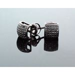 .925 Sterling Silver Black Square Black Onyx Crystal Micro Pave Unisex Mens Stud Earrings 7mm 2